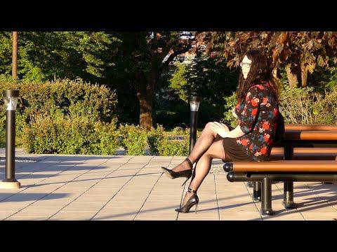 Jenny Crossdresser - High heels, short skirt, top with floral pattern