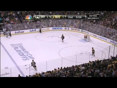 Campbell - Gregory Campbell goes hard core after slapshot to leg. 6/5/13 Pittsburgh Penguins vs Boston Bruins NHL. NBC Sports feed. Announcers PBP Doc Emrick, Eddie Olc...