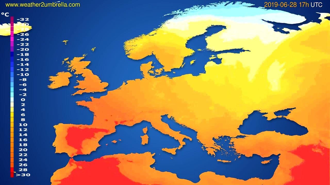 Temperature forecast Europe // modelrun: 00h UTC 2019-06-27