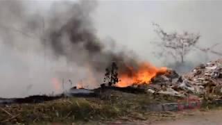 O Corpo de Bombeiros foi acionado e com a ajuda de populares tentam debelarem as chamas