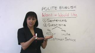 Want or Would like, Polite English, Learn English with Rebecca