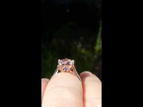 Peachy Pink Morganite in Rose Gold Lily Solitaire Engagement Ring