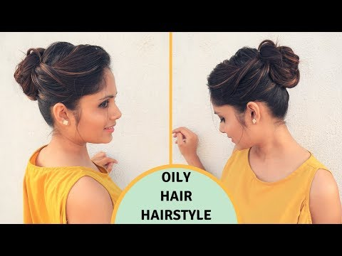 Easy hairstyles - Quick & Easy Hairstyle For Oily Hair  Oily Hair Hairstyle  komal's hair