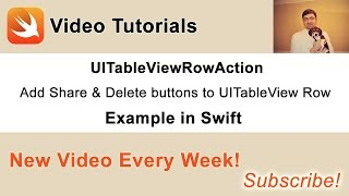 In this video I will share with you how to use UITableViewRowAction to add two action buttons to your table view. You can copy *** code example*** from this page: http://swiftdeveloperblog.com/code-examples/uitableviewrowaction-example-in-swift/Every week I publish new video tutorials. Subscribe to my channel to receive new free video tutorials on App Development for iOS platforms with Swift. ** Follow me on Twitter ***http://twitter.com/SwiftVideoBlog** Follow me on Google+ ***https://plus.google.com/+SergeyKargopolov** Follow me on Facebook ***https://www.facebook.com/SwiftDeveloperBlog/