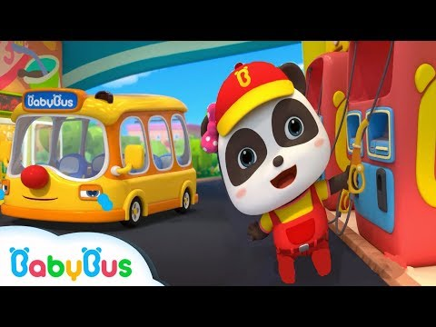 Help! Little Bus Ran out of Petrol | Super Panda | Kids Pretend Play | Kids Safety Tips | BabyBus