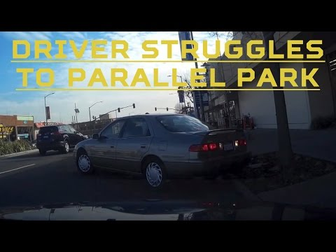 Camry driver in California struggles to parallel park