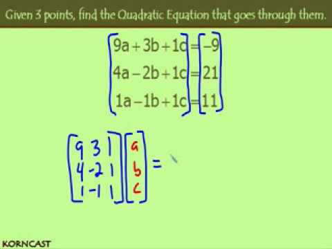 3 Punkte für eine quadratische Gleichung KORNCAST