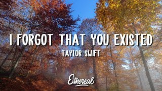 Video Taylor Swift - I Forgot That You Existed (Lyrics) download in MP3, 3GP, MP4, WEBM, AVI, FLV January 2017