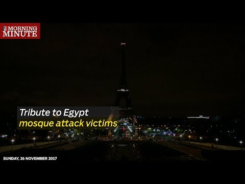 The iconic Eiffel Tower switched off its lights on Friday in tribute to the victims of Egypt mosque attack