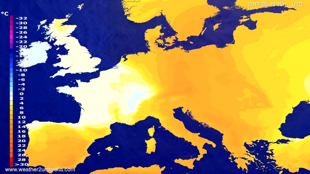 Temperature forecast Europe 2017-05-17