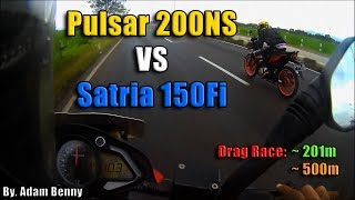 HOT! Satria Fi VS Pulsar 200NS Drag Race on 201m & 500m! - By. Adam Benny Video