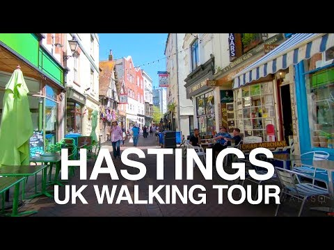 [4K] HASTINGS, UK WALKING TOUR - Trendy George Street to Jerwood Gallery