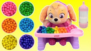 PAW PATROL SKYE Baby, Rainbow Gumball Colors, Magic Servin Surprises High Chair Set TOY