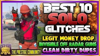 "10 BEST WORKING ''SOLO'' GTA 5 Glitches After Patch 1.40! GTA 5 Online Top 10 SOLO Glitches 1.40 (GTA 5 Online Solo Top 10 Glitches)For Xbox One, Ps4 And PC! (GTA 5 Top 10 Glitches 1.40) ♛ (Solo Money Drop) DIRECTOR - MylesWGaming (Help Him Get 1.5K) ► http://bit.ly/MylesWGaming ◄ ♛ (Clean Dirty Dupes) DIRECTOR - GlitchGaming (Help Him Get 6K) ► http://bit.ly/SubToGlitchGaming ◄ ♛ (Invisible Off Radar) DIRECTOR - JoshMods (Help Him Get 10K) ► http://bit.ly/SubToJoshMods ◄ ♛ (4th) DIRECTOR - DeadGaming Live 2 (Help Him Get 40K) ► http://bit.ly/SubToDeadGaming2 ◄GTA 5 Top 10 Solo Glitches 1.40 features:1. GTA 5 Solo Unlimited Money Drop Glitch 1.40 (Legit)2. GTA 5 Clean Dirty Dupes (Dirty Dupes Glitch) 3. GTA 5 Invisible Off The Radar With Guns Glitch 1.404. GTA 5 Insure LifeGuard Blazer Glitch5. GTA 5 Never Fall Off The Oppressor Glitch6. GTA 5 How to Rob a Store NO COPS GlitchAnd More! ►ROAD TO 150K! Join the #PrestigeFam and Subscribe! ✔🔔👆Turn on Post Notifications👆🔔✔ http://bit.ly/SubToPmHD► The Prestige Community WEBSITE - Submit videos, Cheap GFX & More! http://prestigecommunity.weebly.com/ ▬▬▬▬▬▬▬▬▬ஜ۩♛ DOPE GFX, INSTANT GTA CASH & RANK,  COD RECOVERIES AND MORE!  ♛۩ஜ▬▬▬▬▬▬▬▬▬★ For Cheap, Reliable GTA V Accounts and INSTANT GTA Cash + Rank: ​https://goo.gl/PPD27p ★ For Cheap Games, Call of Duty Modded Accounts and Recoveries, In-game items, gaming accessories and more! https://goo.gl/rvjMQK Use code - 'PMHD' for 5% OFF!★ Need Intros or GFX? Buy Cheap Professional Designs from PrestigeStudios! (My team) http://prestigecommunity.weebly.com/gfx-shop.html▬▬▬▬▬▬▬▬▬ஜ۩♛ Join The Prestige Community ♛۩ஜ▬▬▬▬▬▬▬▬▬▼ Want to be Featured on PmHD? ▼Subscribe and Submit your Glitches, Tips and Tricks videos to our website! http://prestigecommunity.weebly.com/submit-your-videos--contact.htmlTwitter: https://twitter.com/PrestigeMontageFB: http://bit.ly/PmHDFBSubscribe: https://www.youtube.com/c/PmHD?sub_confirmation=1♛ Subscribe to our Prestige Channels ♛PmHD (100K+ GTA): https://www.youtube.com/c/PmHD?sub_confirmation=1PrestigeGaming (15K+ Gaming): https://bitly.com/SubPrestigeGamingPrestigeMusick (8K Music): http://www.youtube.com/PrestigeMusick?sub_confirmation=1  PrestigeStudios (GFX/INTROS): http://bit.ly/SubPrestigeStudios PrestigeComedy (22K Entertainment): http://bit.ly/SubPrestigeComedy▬▬▬▬▬▬▬▬▬ஜ۩♛ INTRO SONG ♛۩ஜ▬▬▬▬▬▬▬▬▬My Music channel: https://www.youtube.com/user/PrestigeMusick  Intro song - https://www.youtube.com/watch?v=ZeLeAgQ_DtoOutro Song - https://www.youtube.com/watch?v=BbZP3zCLBrM▬▬▬▬▬▬▬▬▬ஜ۩♛ 10 Popular GTA 5 Online GunRunning DLC Glitches Not to Miss! ♛۩ஜ▬▬▬▬▬▬▬▬▬► GTA 5 Online TOP 10 GLITCHES 1.40! (NEW) 10 BEST WORKING GLITCHES GTA 5 1.40 (Top 10 Glitches 1.40) http://youtu.be/NeCoPZe9SKkGTA 5 Online (NEW) Top 10 SOLO Glitches 1.40! 💯 SOLO UNLIMITED MONEY DROP & MORE! (Top 10 Glitches)► GTA 5 Online TOP 10 CLOTHING GLITCHES 1.40! NEW BEST 10 GUNRUNNING Outfit Glitches! Top 10 Glitches 1.40 http://youtu.be/w-VCsr8F7gM► GTA 5 Online TOP 5 GLITCHES 1.40! (NEW) FREE $30,000,000 GLITCH, 100% INVISIBLE BODY, RARE CLOTHING! http://youtu.be/-g17pseXp7E ► FINALLY! GTA 5 Online ''XBOX ONE'' & PS4 DIRECTOR MODE GLITCH 1.40! SOLO GTA 5 ''Money Glitch 1.40'' http://youtu.be/r-YbkDu1r-k► GTA 5 CHECKERED OUTFIT GLITCH 1.40! (NEW) SOLO 'CHECKERBOARD OUTFIT' TUTORIAL GTA 5 Online 1.40 https://www.youtube.com/watch?v=63XipThzvAY► OMG! NEW $10,000,000 /HR ''SOLO'' MONEY GLITCH! GTA 5 Online 1.40 *SOLO* ''UNLIMITED MONEY GLITCH'' http://youtu.be/8Ev84bLKHYE► GTA 5 GUNRUNNING GLITCHES 1.40! *NEW* MILITARY ''MODDED OUTFIT GLITCH 1.40'' (Clothing Glitches 1.40) http://youtu.be/dtMbuEDpvP8▬▬▬▬▬▬▬▬▬ஜ۩♛ A Personal Note From Xav ♛۩ஜ▬▬▬▬▬▬▬▬▬ Hey #PrestigeFam! Thanks for watching guys! Help us reach 150,000 Subscribers by rating the videos and leaving feedback! Subscribe if you're new here for the best and latest Gaming Glitches, tips and tricks! Stay tuned, Stay Prestige ✌️✌️#PrestigeFam #PrestigeCommunity-Xav, PmHD♛ Fair Use Disclaimer:♛ COPYRIGHT DISCLAIMER UNDER SECTION 107 OF THE COPYRIGHT ACT 1976 - Copyright Disclaimer Under Section 107 of the Copyright Act 1976, allowance is made for ""fair use"" for purposes such as criticism, comment, news reporting, teaching, scholarship, and research. Fair use is a use permitted by copyright statute that might otherwise be infringing. Non-profit, educational or personal use tips the balance in favor of fair useGTA 5 Top 10 Solo Glitches,GTA 5 Top 10 Solo Glitches 1.40,GTA 5 Top 10 Solo Glitches After Patch 1.40,GTA 5 Online Top 10 Solo Glitches,GTA 5 Online Top 10 Solo Glitches 1.40,GTA 5 Online Top 10 Glitches 1.40,GTA 5 Top 10 Glitches 1.40,GTA Top 10 Solo Glitches 1.40,GTA 5 Best 10 Solo Glitches 1.40,GTA 5 Solo Glitches 1.40,GTA 5 Online Solo Glitches 1.40,Top 10 Solo Glitches 1.40,GTA 5 Solo Top 10 Glitches 1.40,GTA 5 Online Solo Top 10 Glitches 1.40,PmHD Glitches"