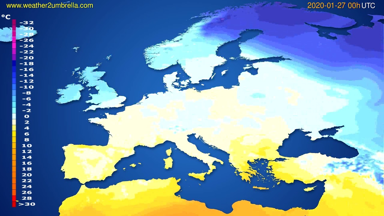 Temperature forecast Europe // modelrun: 00h UTC 2020-01-26