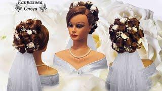 прически свадебные на лицо фатой