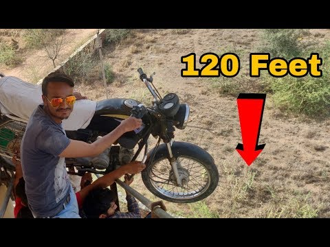 Dropping Motorcycle From 120 Feet Height || Motorcycle vs 120 Feet Water Tank || Experiment King
