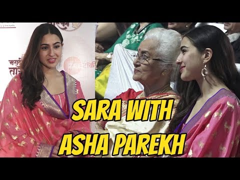 Sara Ali Khan with Asha Parekh At The Red Carpet Of 'Marathi Tarka