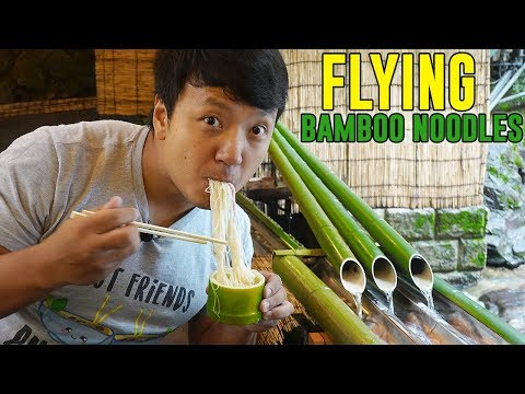 BAMBOO NOODLE SLIDE & SAMURAI Food in Kyoto Japan
