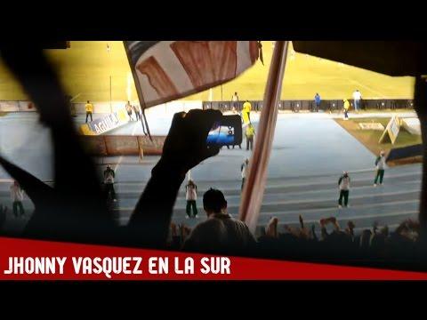 Jhonny Vazquez en la Tribuna Sur con el Frente Rojiblanco - Junior 2-0 Pasto - Frente Rojiblanco Sur - Junior de Barranquilla