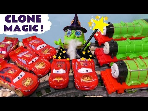 Wizard Funling uses clone magic on Thomas and Friends Trains and Cars McQueen TT4U
