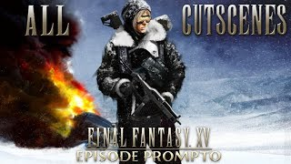 Episode Prompto focuses on Prompto after he fell off the train.  All cutscenes from the new Episode Prompto DLC in Japanese dub with English subtitles.  All possible tutorials and HUD options are turned off but this does not disable all pop up prompts unfortunately.  This video should contain all the audio logs that are found throughout the game and also the notes.  These were included since they added information to the story.  Note: Some of the English subtitles do not match the Japanese voiced lines (due to English voiced localization changes).  Be sure to like and subscribe for more Final Fantasy and jRPG videos!