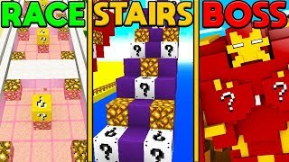 MINECRAFT LUCKY BLOCK MICRO GAMES - LUCKY BLOCK RACE VS LUCKY BLOCK STAIRS VS LUCKY BLOCK BATTLE