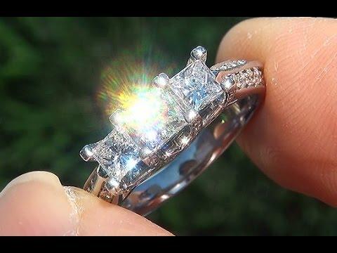 Past Present Future VS1/G Princess 3 Stone Diamond Engagement Anniversary 14k Gold Ring - C730