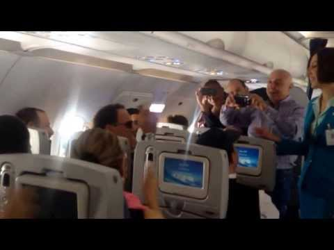 Lebanese singing on a MEA flight from Milan to Beirut