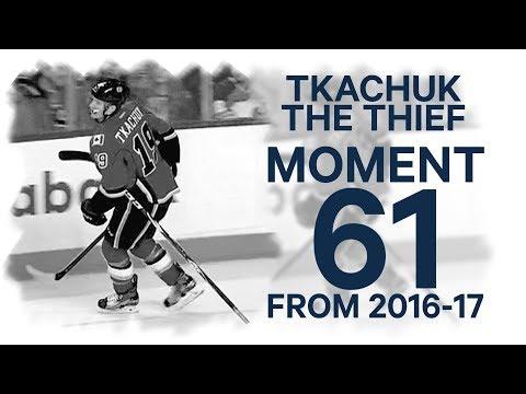 Video: No. 61/100: Tkachuk steals Burns' stick