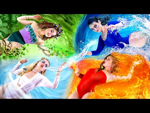 Fire Girl, Water Girl, Air Girl and Earth Girl / Four Elements in Real Life