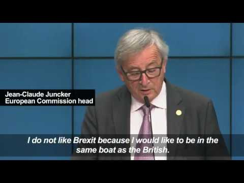 "Jean-Claude Juncker says hopes Britain will ""re-enter the boat"", March 10, 2017"
