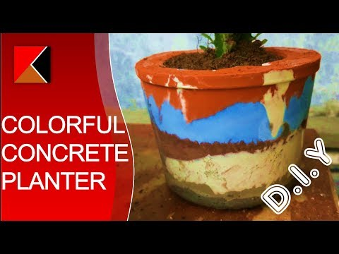 DIY Easy Colorful Concrete Planter