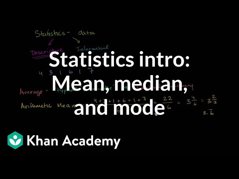 Statistics Intro Mean Median Mode Video Khan Academy