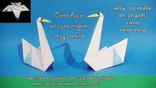 Como hacer un cisne origami muy sencillo How to make a very easy origami swan