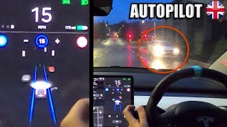 FSD reacts to CRAZY driver on my side of the road!  - Tesla Autopilot in a UK City #22 Perth by Pokemon Cards