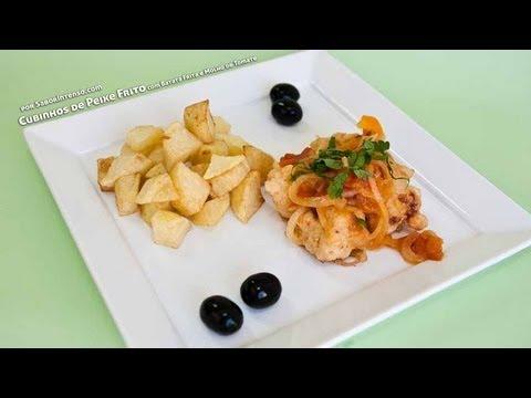 Receita de Cubinhos de Peixe Frito com Batata Frita e Molho de Tomate