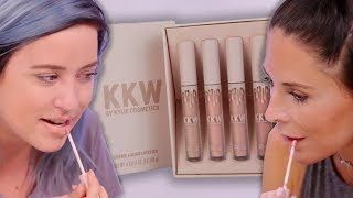 IF WE HIT 3 MIL BY AUG 31 OUR BOSS IS SENDING US TO CABO!!! CLICK HERE PLS ►► http://bit.ly/SubClevverStyleKylie Jenner and Kim Kardashian have joined forces and collabed for the launch of Kim's new makeup line! Today's Beauty Break involves us pretending like we know ANYTHING about makeup and testing out all four of the KKW x Kylie Cosmetics Crème Liquid Lipsticks! Buy the lip kits (if they ever come back in stock):https://kkwbeauty.com/products/kkw-creme-liquid-lipstick-collectionTalk to Lilz & Jos:http://instagram.com/lily_marstonhttp://instagram.com/joslyndavishttp://twitter.com/lily_marstonhttp://twitter.com/joslyndavis For More Clevver Visit:There are 2 types of people: those who follow us on Facebook and those who are missing out http://facebook.com/clevverhttp://instagram.com/Clevverhttp://Twitter.com/ClevverTVIf you're reading this, comment with what Clevver would name their 4 liquid lipsticks...