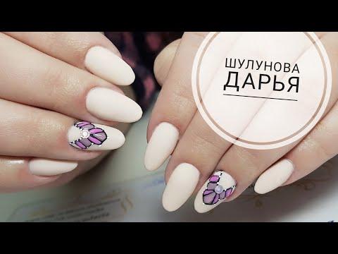 Nail salon - салонный коротенький миндаль  наращивание короткий миндаль  Простой и быстрый дизайн ногтей