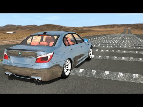 100 speed bumps on a highway animation
