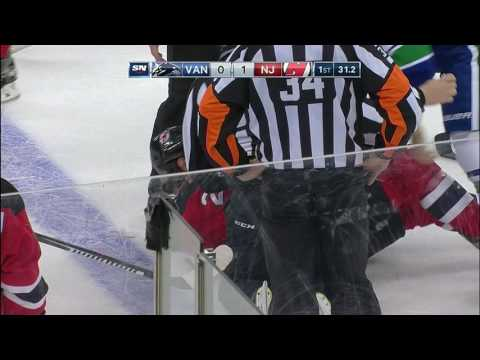 Video: Zajac slow to get up after crashing into boards