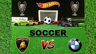 HotWheels Lamborghini Vs BMW Soccer Game!!!