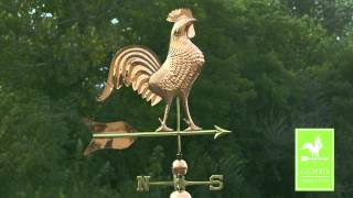 Barn Rooster Estate Weathervane - Polished Copper - Good Directions