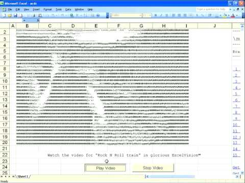 ACDC Rock N Roll Train ASCII music video in Excel