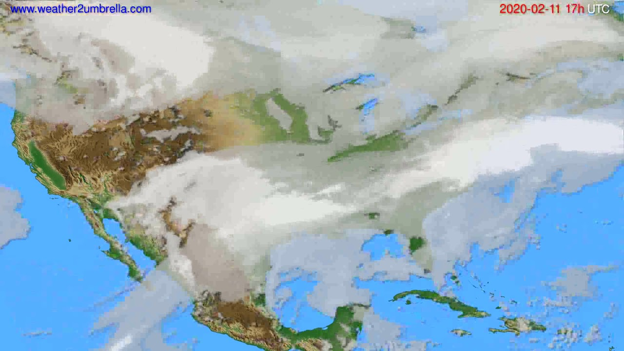 Cloud forecast USA & Canada // modelrun: 12h UTC 2020-02-10