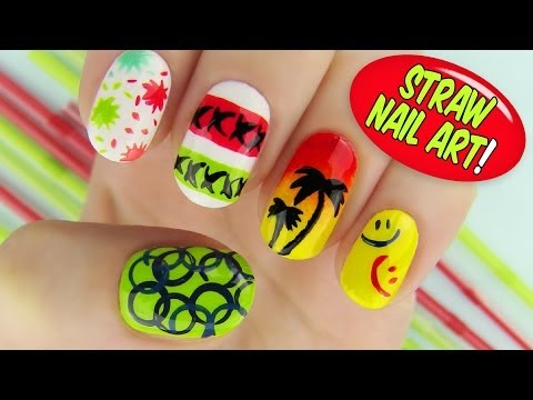 Using - Creative straw nail art! This nail tutorial shows 6 creative nail art designs using a straw as the main nail art tool! Nail art tutorial is for nail art begi...