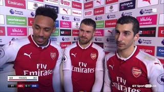 Aubameyang, Mkhitaryan and Aaron Ramsey speak to BT Sport after Arsenal's 5-1 win