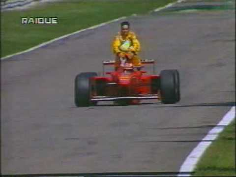 Michael schumacher gives Giancarlo Fisichella a lift, because his jordan broke down in the last lap.