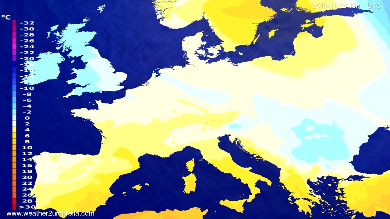 Temperature forecast Europe 2018-11-19