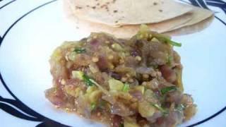 Roasted Eggplant Subzi - Indian Baingan Recipes